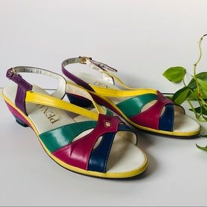 Vintage Colorful Strappy Heels